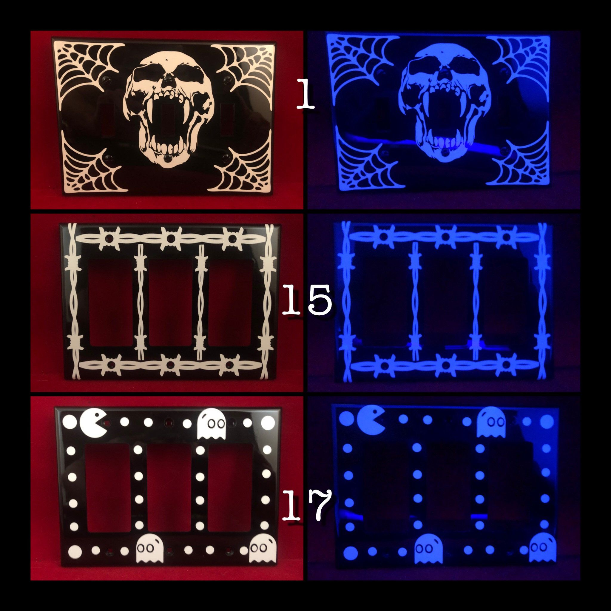 Custom Glow In The Dark Triple Wide Light Switch And Outlet Cover Plates In 2020 Glow In The Dark Light Switch Outlet Covers