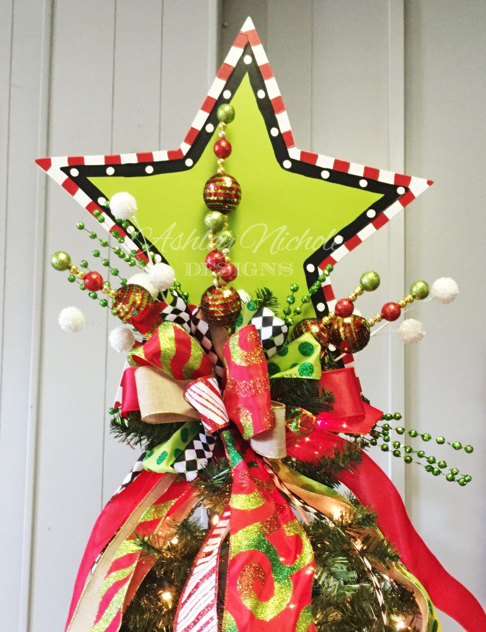 Tree Topper Wooden Star Christmas Door Hanger Tree Toppers Christmas Tree Toppers