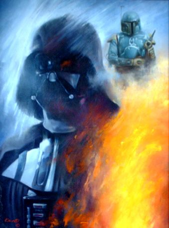 Original Painting By Roger Kastel Featuring Darth Vader And Boba Fett