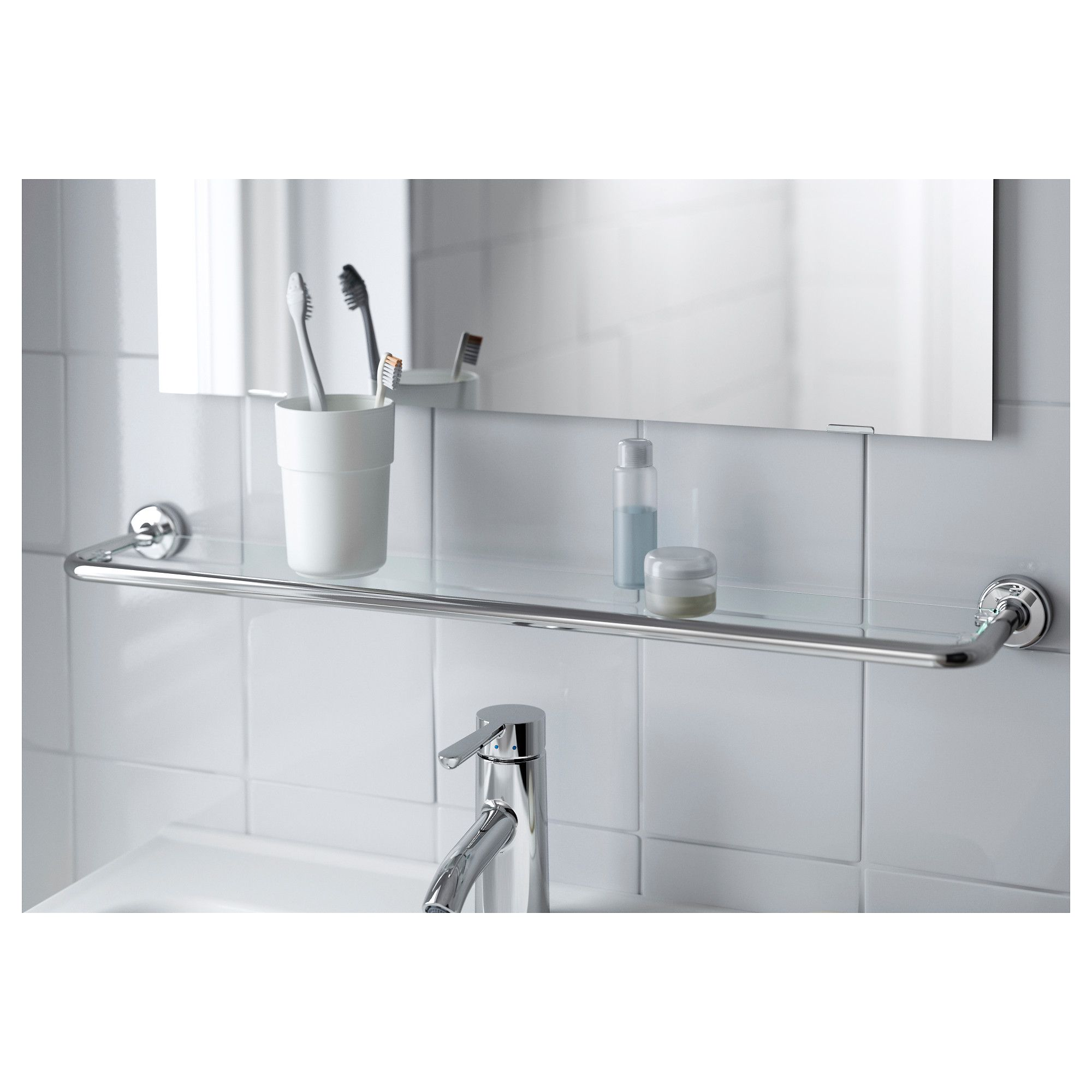 IKEA VOXNAN Glass shelf chrome effect Glass bathroom