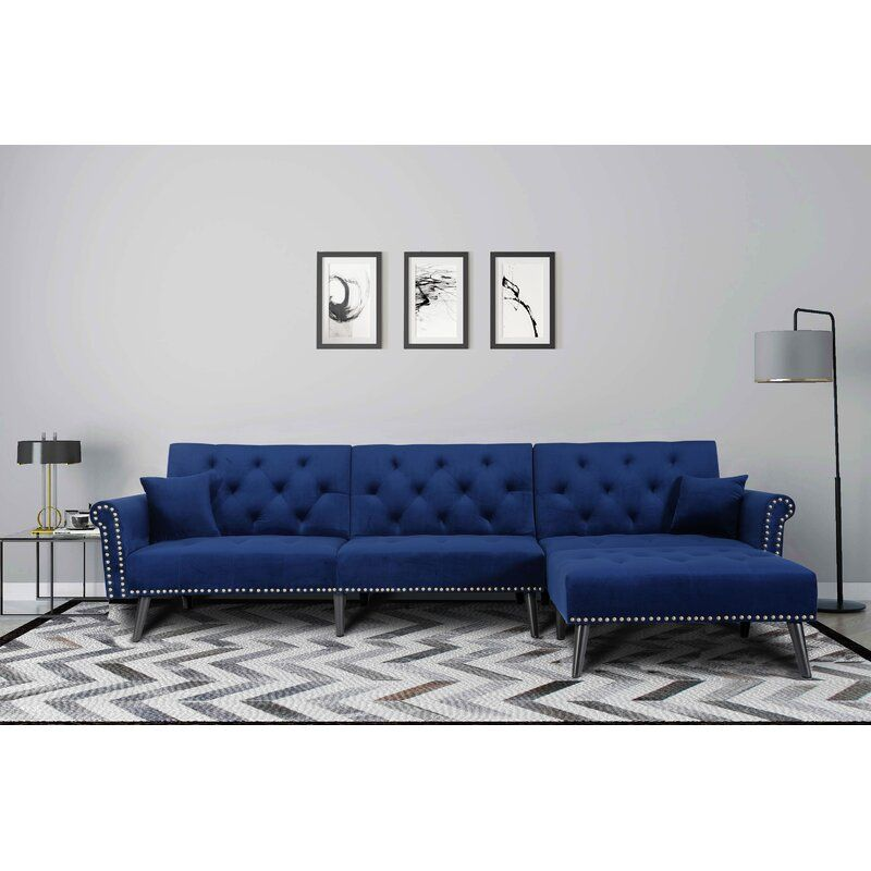 Gratton 108 Reversible Sleeper Sectional With Ottoman In 2020 Sofa Bed Set Futon Sofa Sleeper Sectional