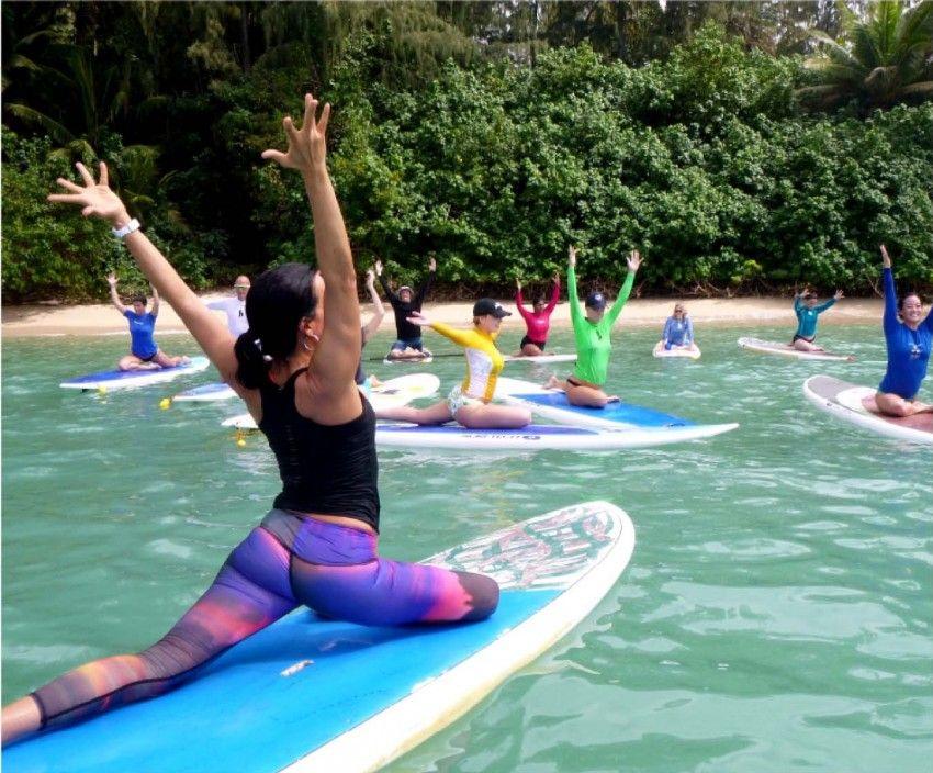 Standup Paddleboard Yoga Paddle board yoga, Pigeon pose