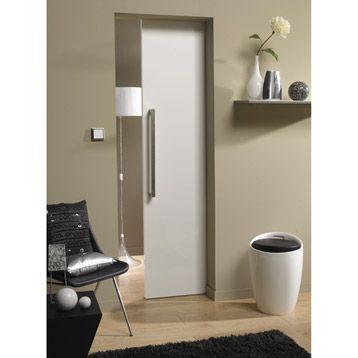 Porte coulissante Glossy white pleine ARTENS, 204x83cm Leroy - roulette porte placard coulissant
