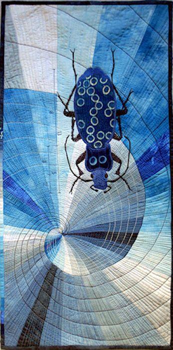 Barbara Lange art quilt - monochrome series - Blauer Käfer (blue beetle)