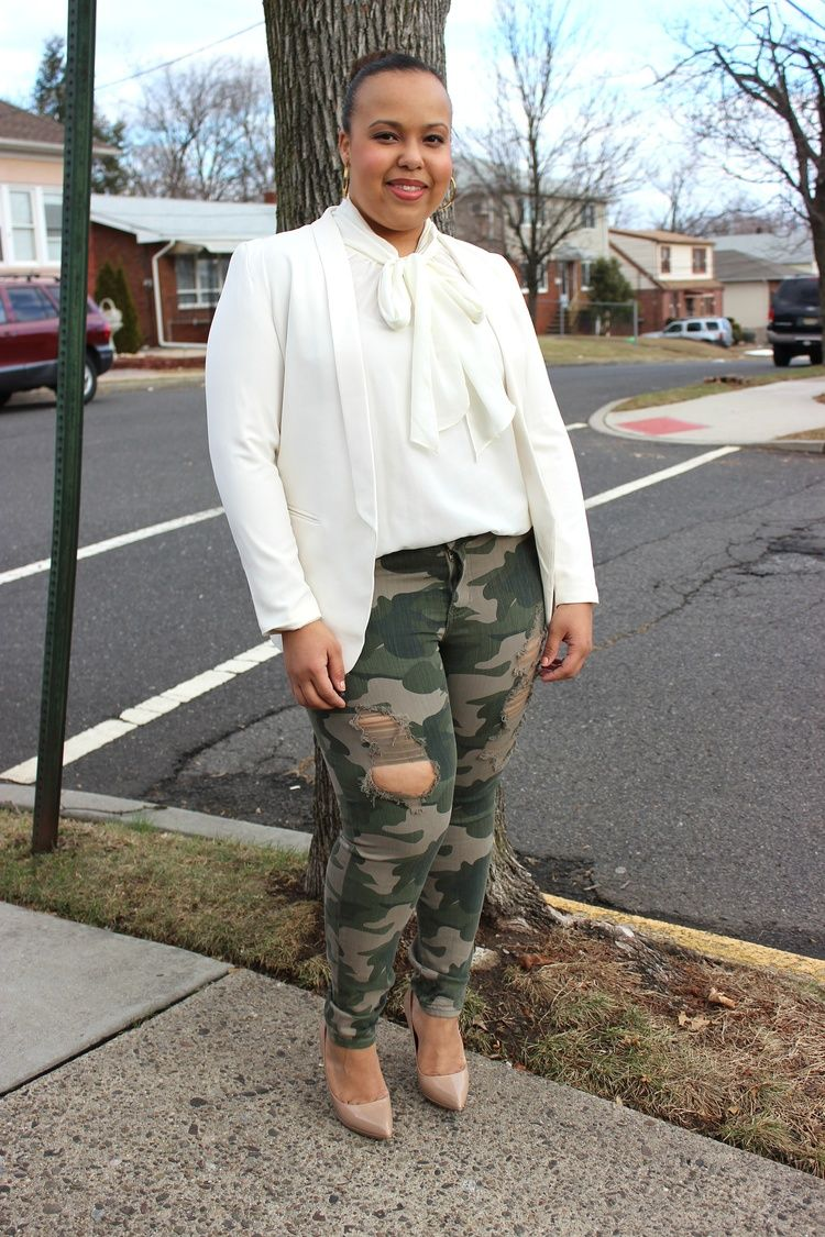 dressy camo pants. Pussy bow blouse. Distressed camo pants. Ivory ...