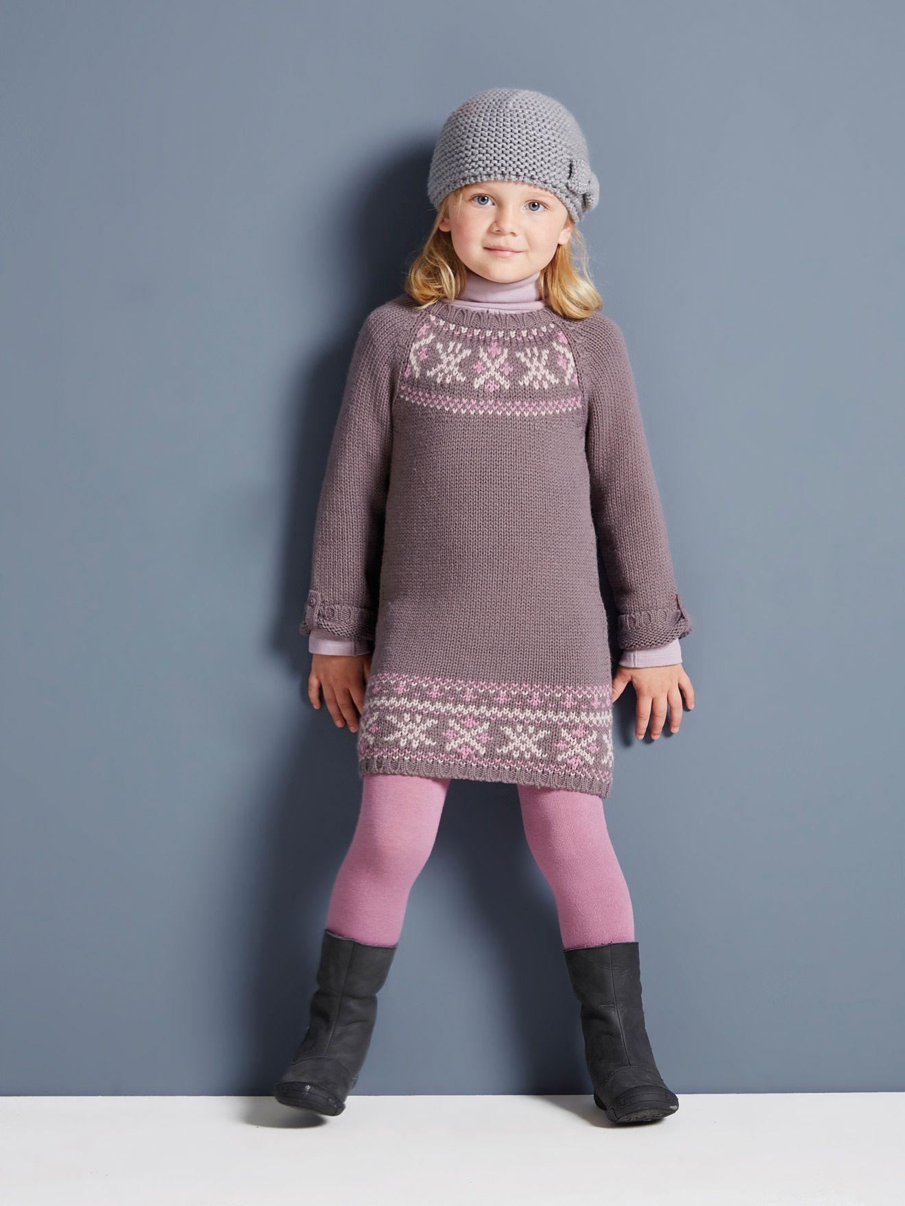 Mädchen Strickkleid Mit Jacquard Motiv Barborai Girls Knitted