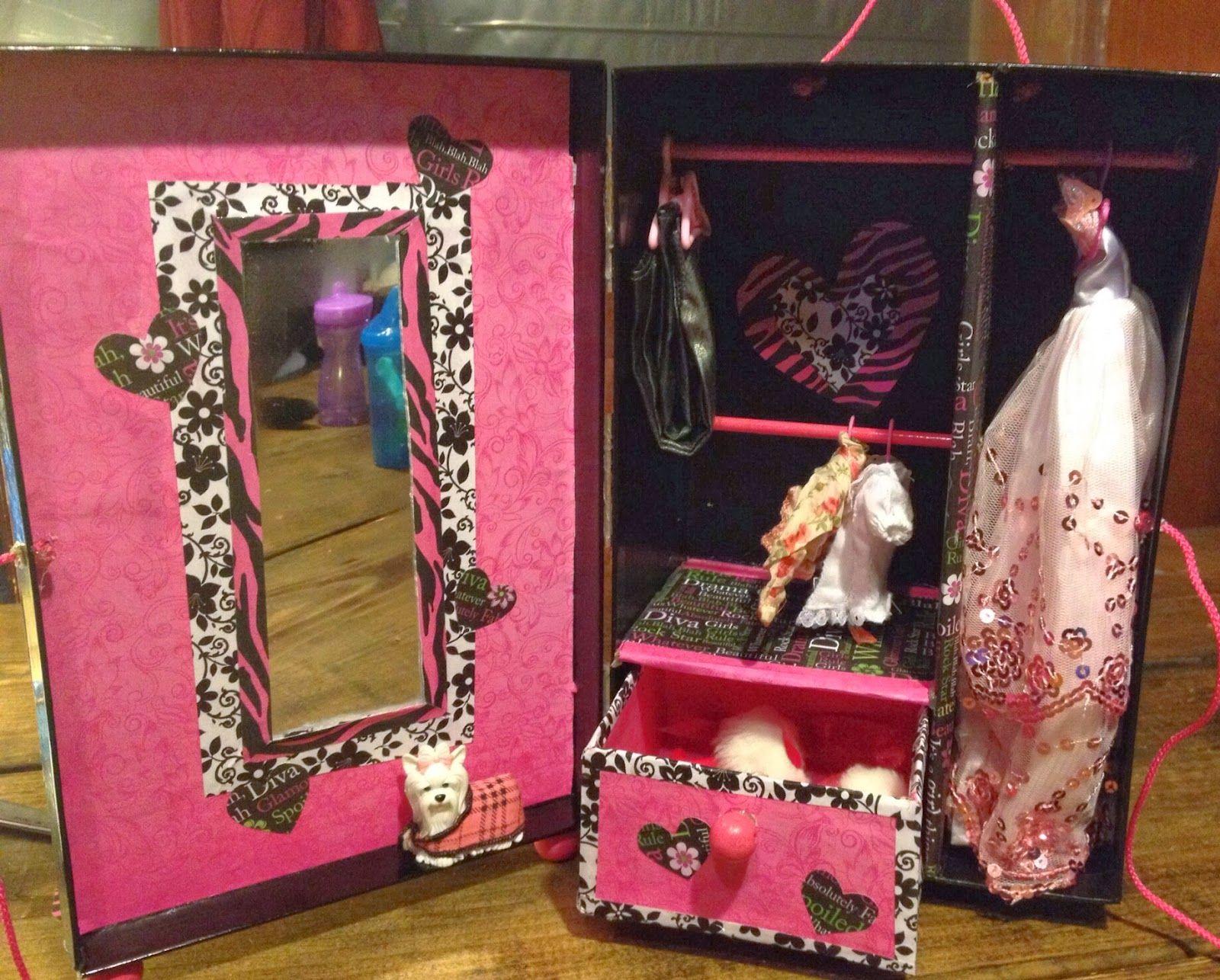 DIY doll wardrobe from photo storage/shoe box DYI barbie