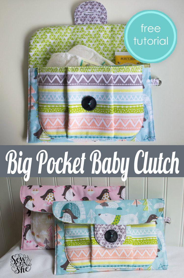 Big Pocket Baby Clutch {free pattern + tutorial} | Nähen, Nähideen ...