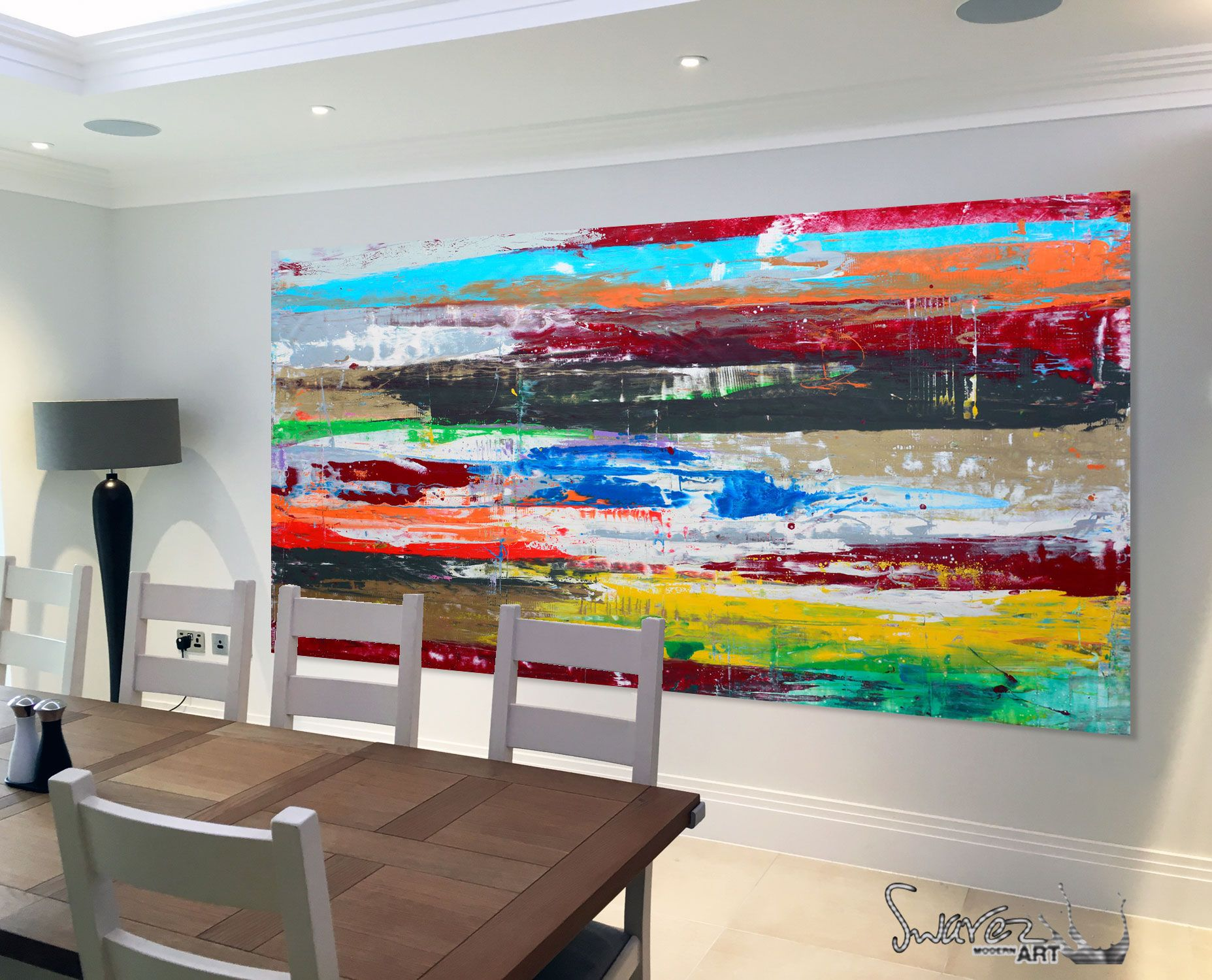 Large Multi Coloured Abstract Canvas Made Up Of Long Horizontal Lines Made In Enamel Paint B Horizontal Painting Colorful Canvas Paintings Modern Art For Sale