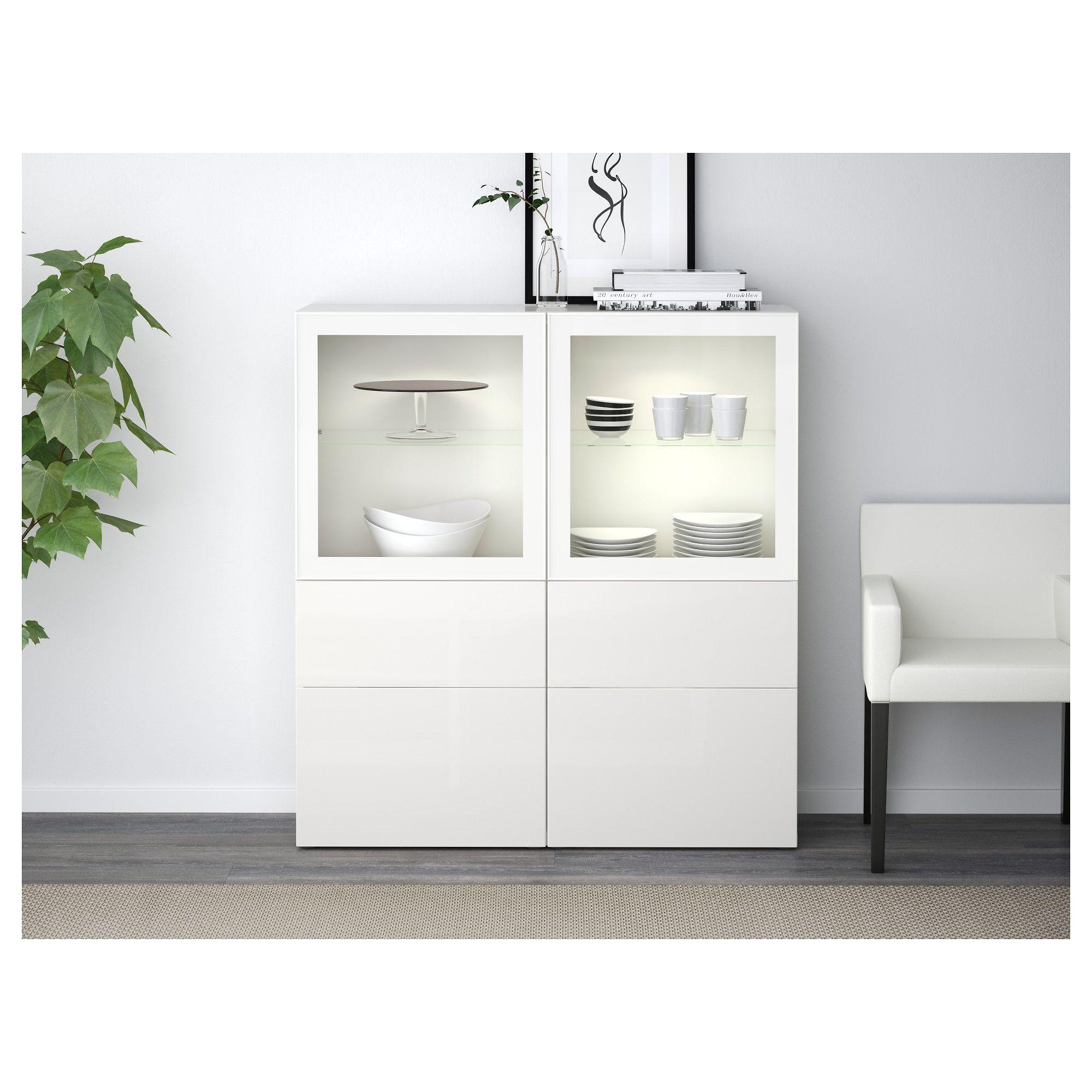 BESTÅ Storage combination w/glass doors white, Selsviken