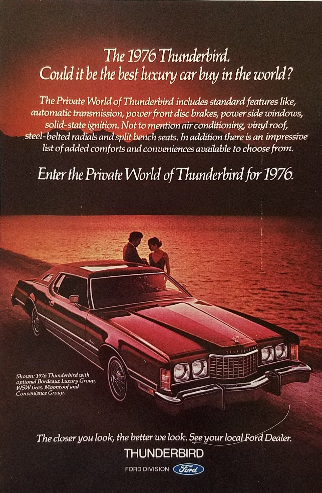 1977 Ford Thunderbird New Look New Size Original Print Ad 8.5 x 11/""