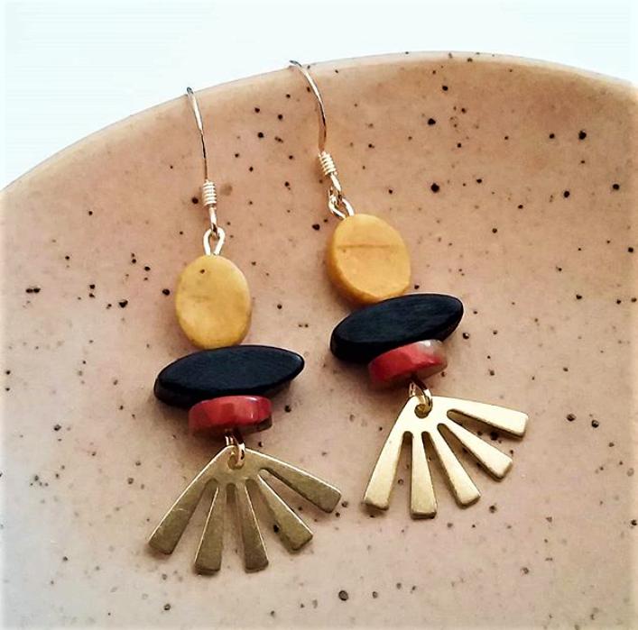 Sun ray laser cut wood earrings Dangle circle earrings lightweight Sun shape earrings gift for her Nickel free jewelry.