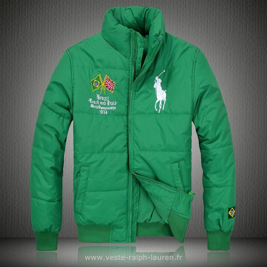 f1db9d4cd0331e Polo officiel - Ralph Lauren doudoune manteau hommes 2013 classic big pony  drapeau national brazil vert
