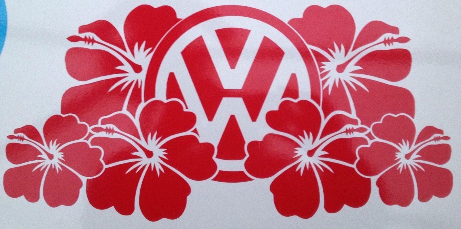 Volkswagen Hibiscus Flowers Vinyl Badge Graphic Decal Camper Van T4