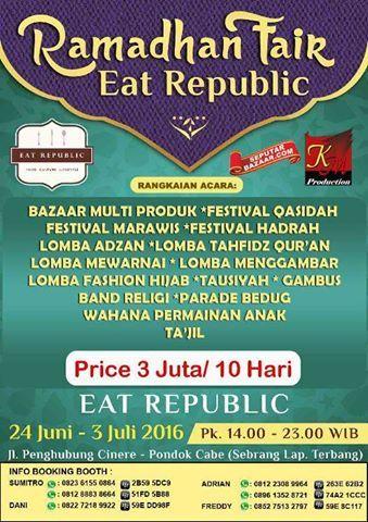 Ramadhan Fair Eat Republic 2016 Tanggal 24 Juni 3 Juli 2016