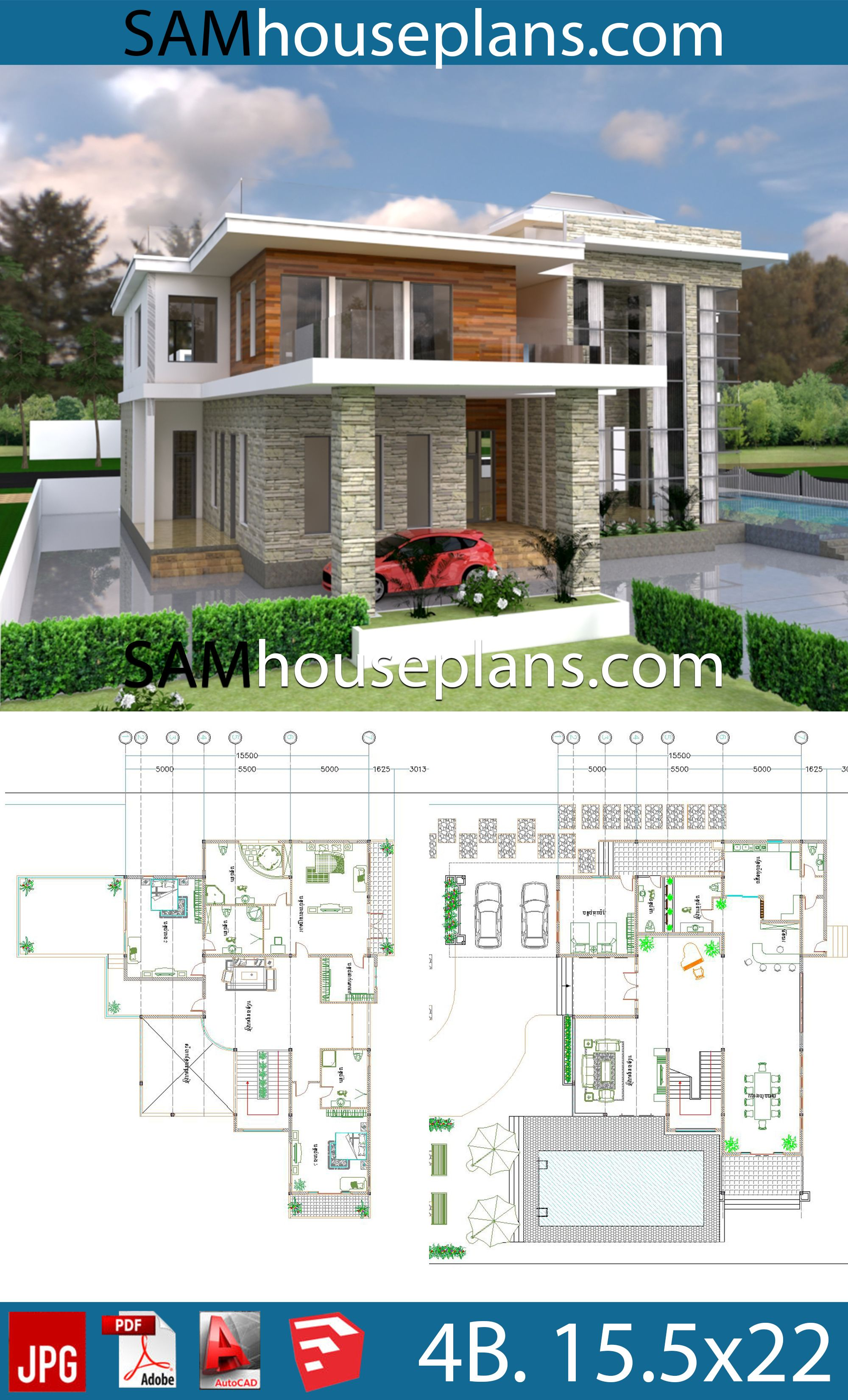 House Plans 15 5x22 With 4 Bedrooms House Plans Free Downloads House Plans My House Plans Modern House Plans