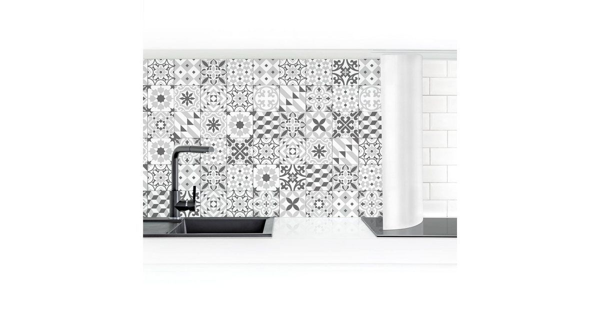 Kitchen back wall Geometric tile mix graygeometric