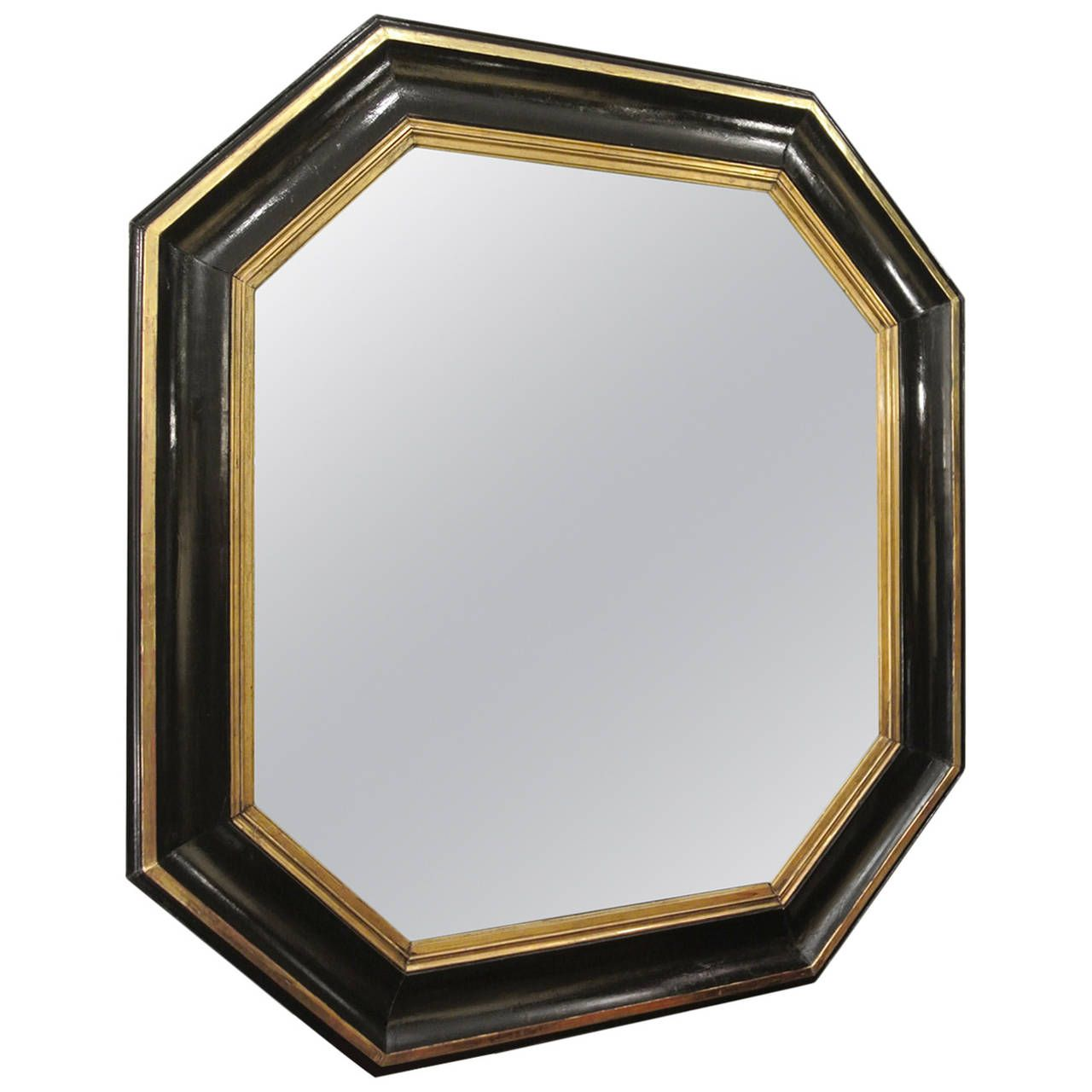 Octagonal mirror from 19th century lacquer black and gold octagonal mirror from 19th century lacquer black and gold amipublicfo Image collections