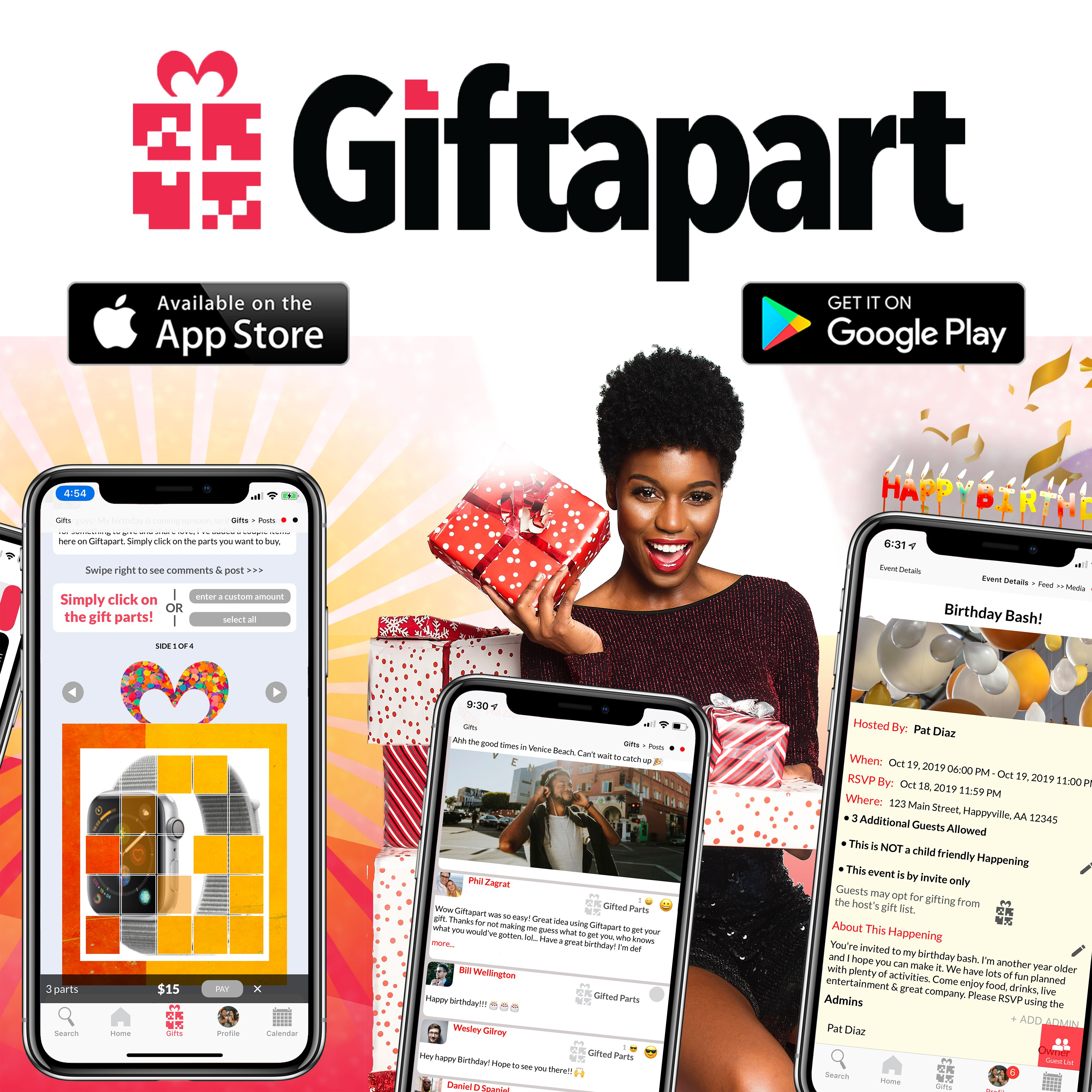 Giftapart's beta App is avail on iOS & Android https