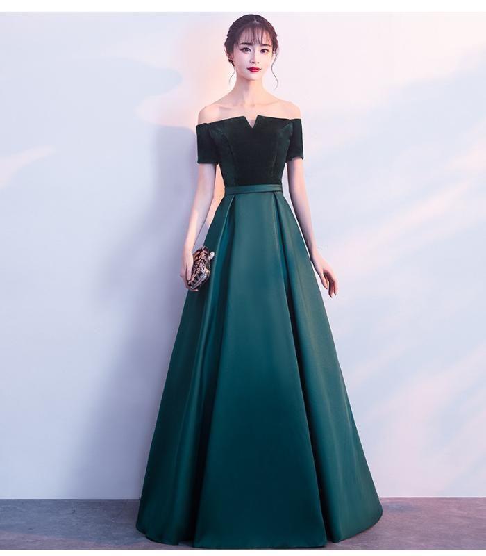 Shoulder Evening Dress Girls\u0027Elegant Elegant And Moderate