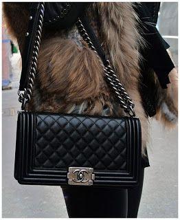 Chanel Boy New Medium In Black Silver Bag