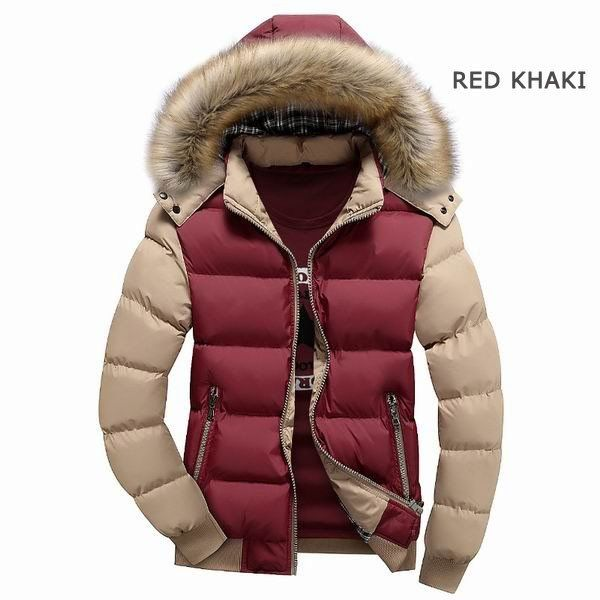 winter thick warm coat color splicing detachable furred hooded