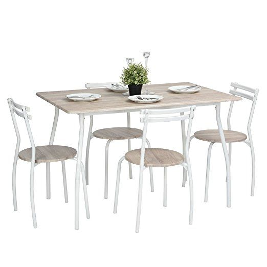 Lillyarn 5Pcs Dining Set Breakfast Table and Chairs Set Metal