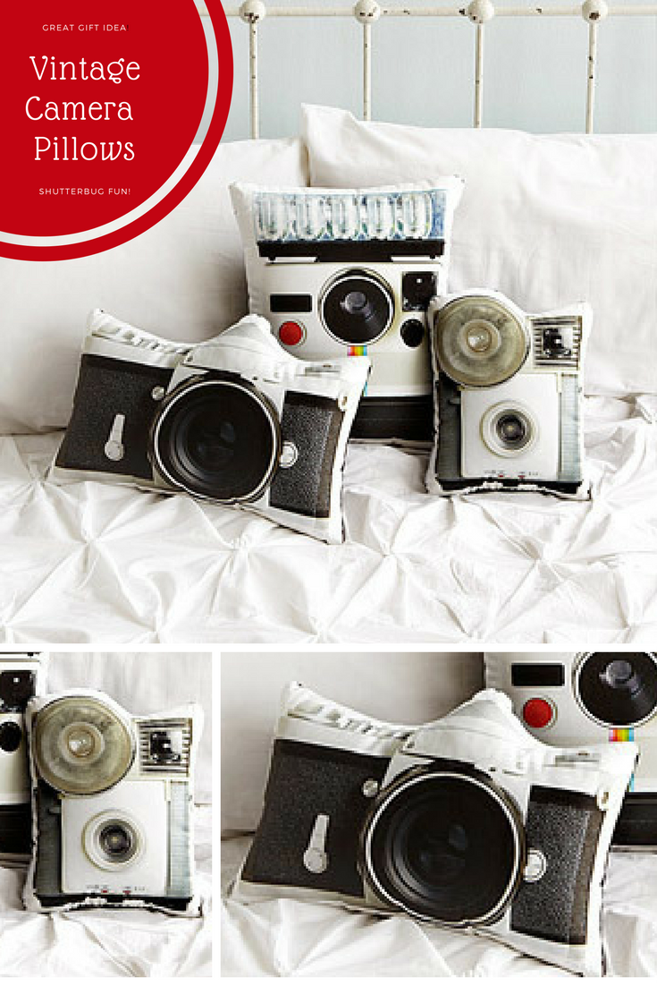 I love these vintage camera pillows. Would make a great conversation ...