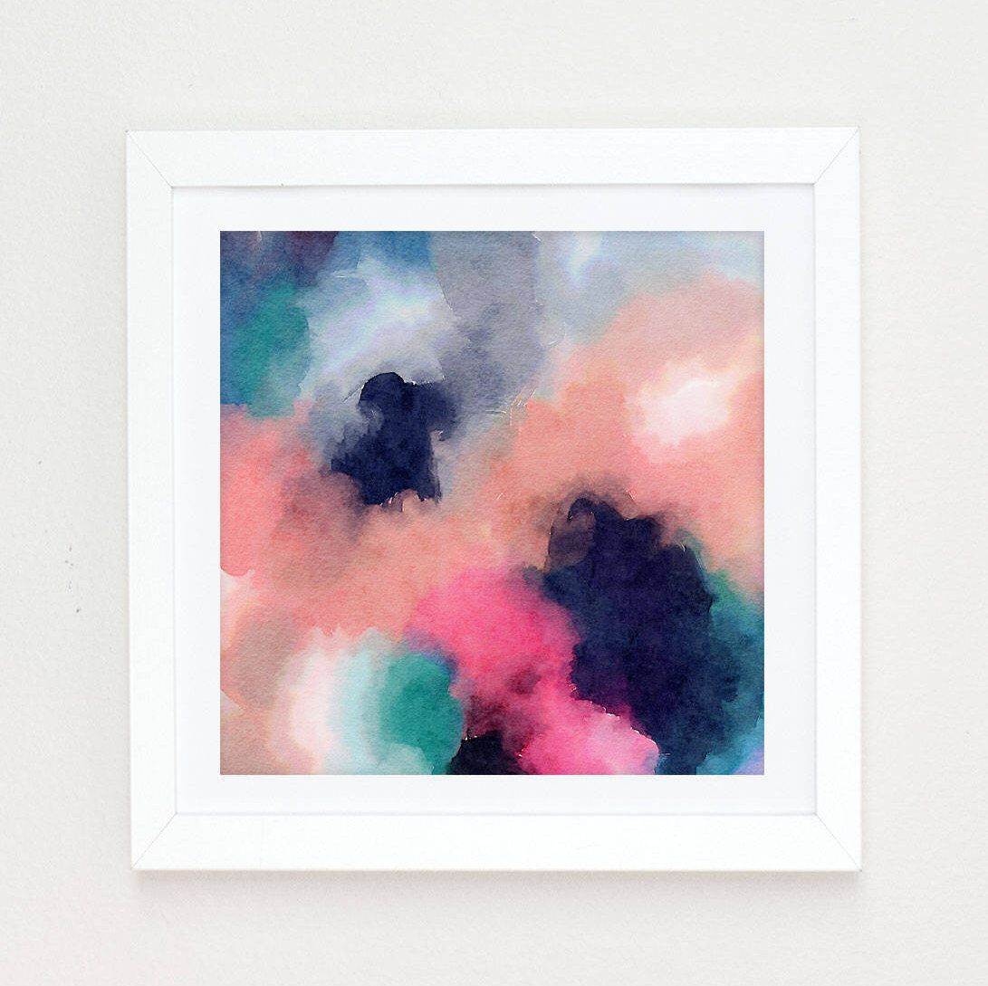 Watercolor abstract painting abstract watercolor pink and navy blue