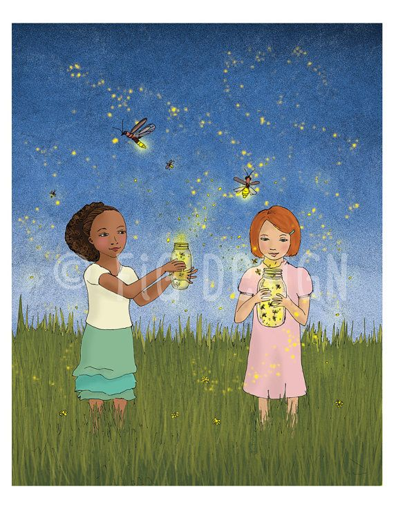 Catching Fireflies Girls Catch Lightning Bugs At Dusk Giclee Fine