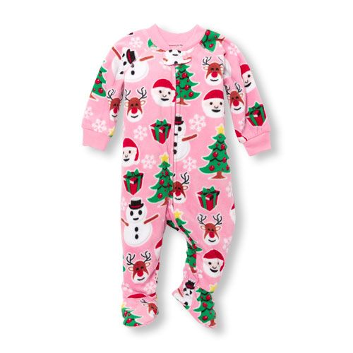 d213d59ed5 Baby And Toddler Girls Long Sleeve Christmas Print Glacier Fleece Footed  One-Piece Sleeper