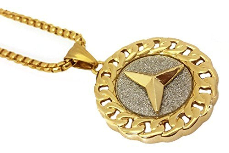 Peace symbol cuban border pendant stainless steel necklace