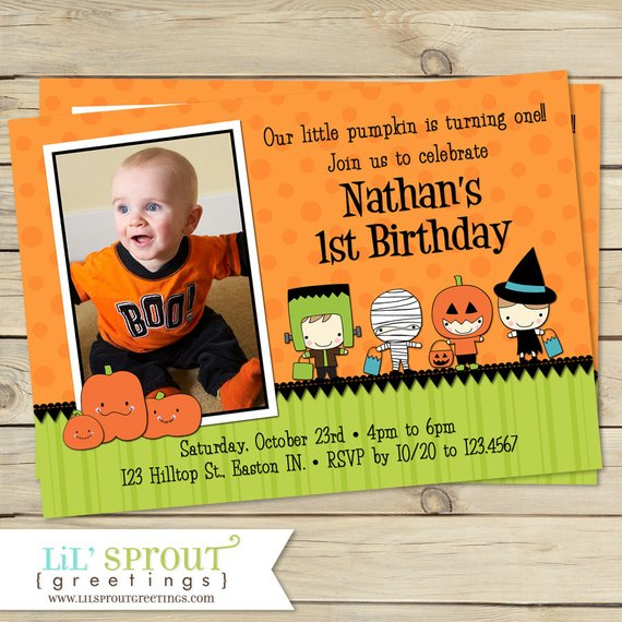 Little Pumpkin 1st Birthday Invitation
