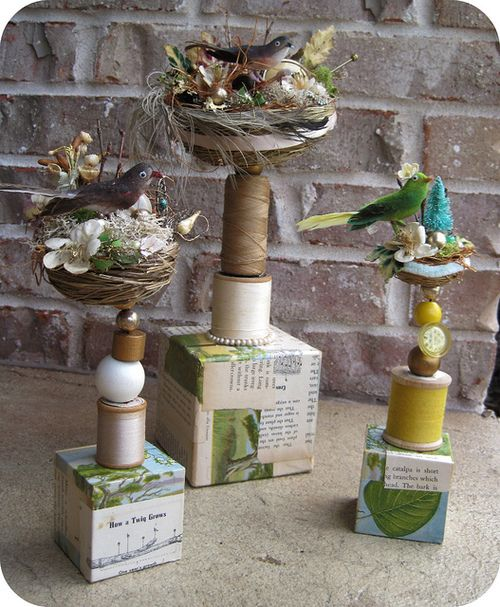 Nest Totems, group (by Katie Runnels)  Katie does it again, sweet and wonderful work!