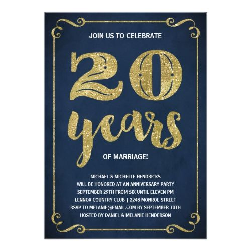 gold typography faux foil 20th anniversary card anniversary