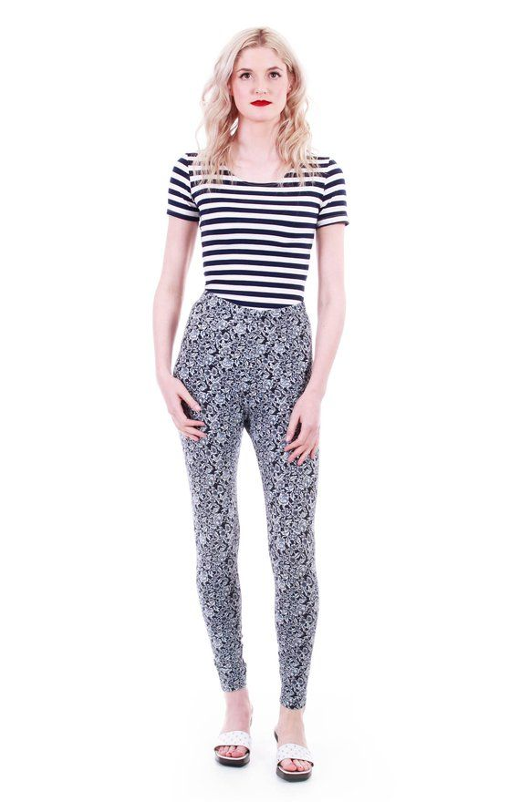 b5171c675d22d High Waisted Pants Floral Leggings 80s Clothing Spandex Pants Stretch Pants  High Waist Leggings 90s