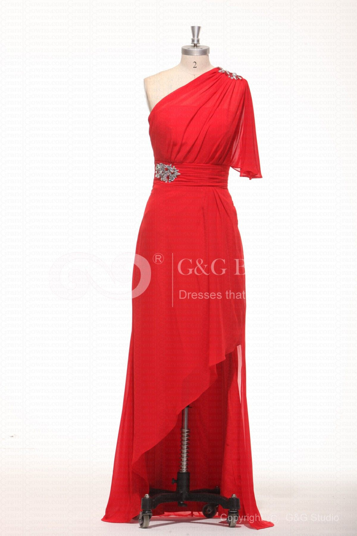 Red backless asymmetrical natural aline plus size formal dresses