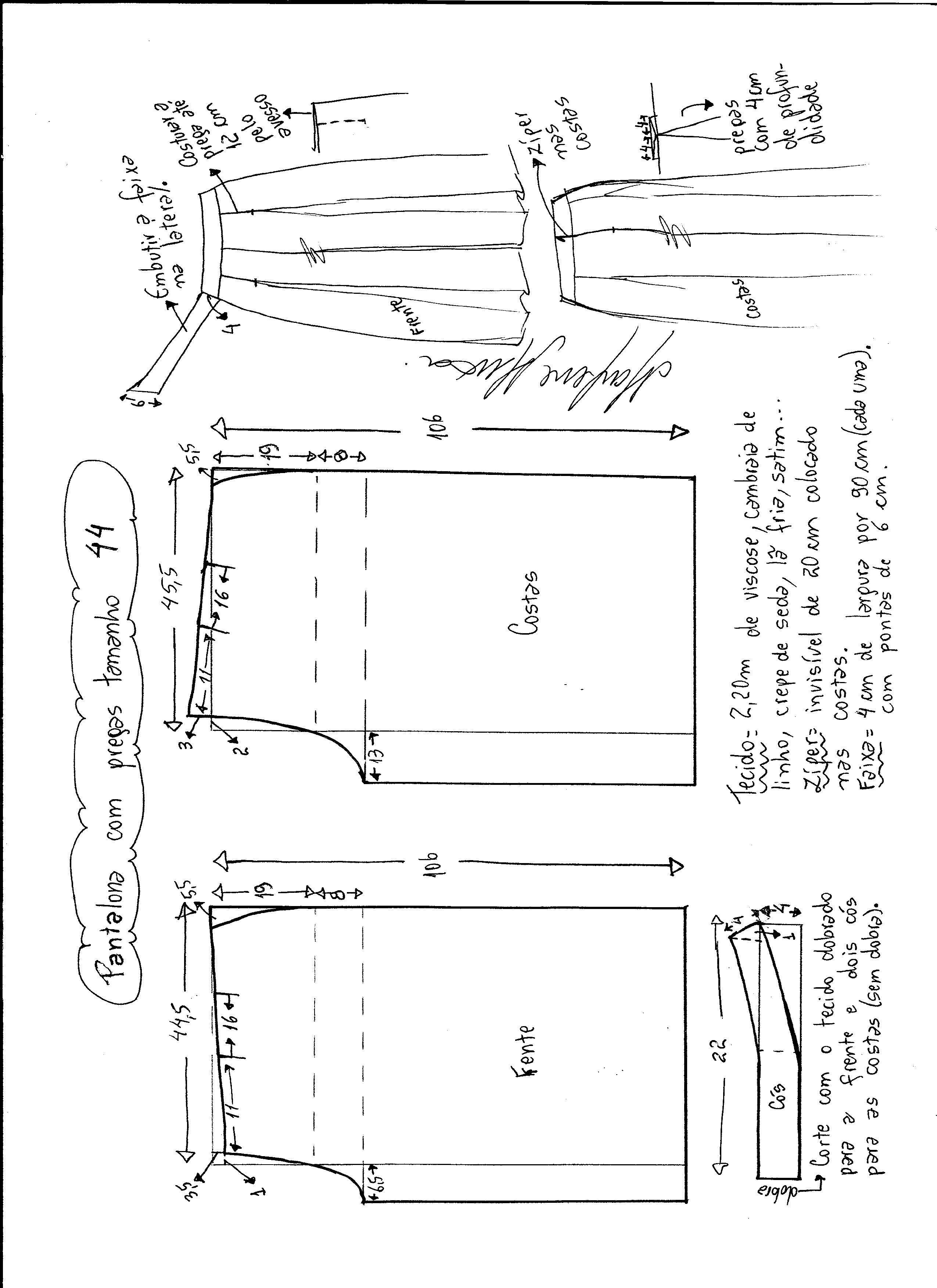 Calça Pantalona com pregas | Costura, Molde y Patrones