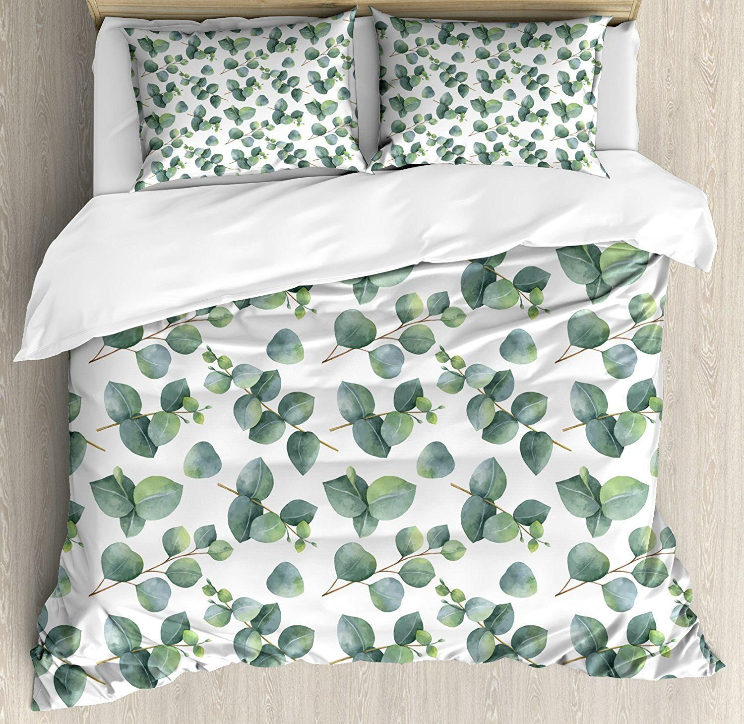 Leaf Duvet Cover Set, Watercolor Style Pattern With Silver Dollar