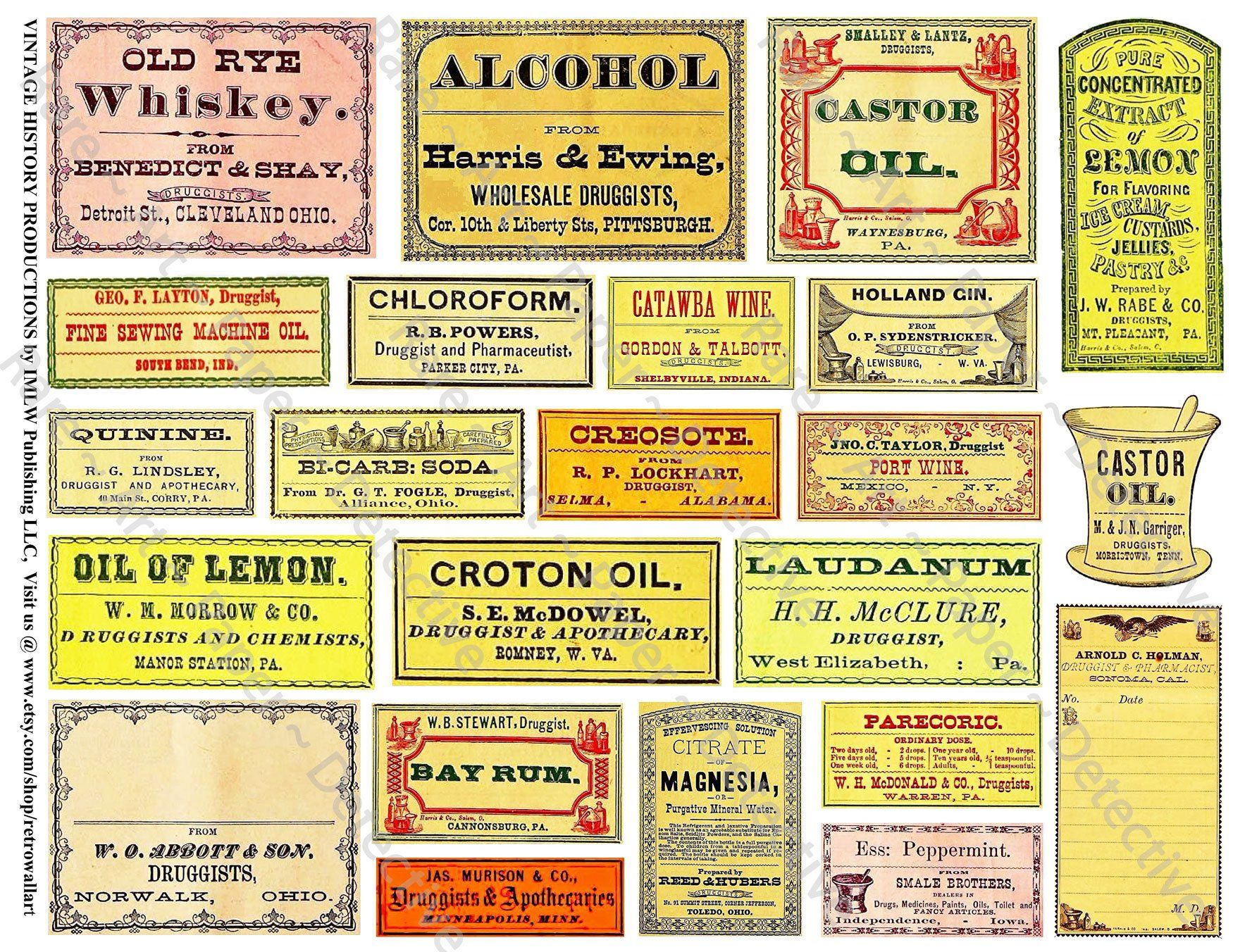 Adhesive Stickers SEALS  Vintage Pharmacy Apothecary Labels 10