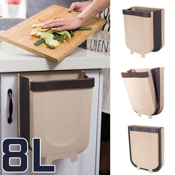 BRAVOTW 8L Poubelle de Cuisine Placard Pliable Con
