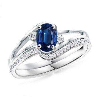 Angara Natural Sapphire Necklace in Platinum tFCnzpN