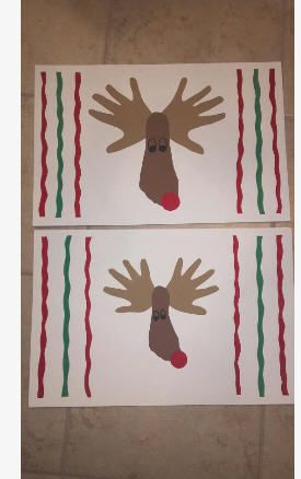 Cute Reindeer Hand Foot Placemat For The Holiday My Niece Made Too Cute Preschool Christmas Diy Christmas Gifts School Crafts