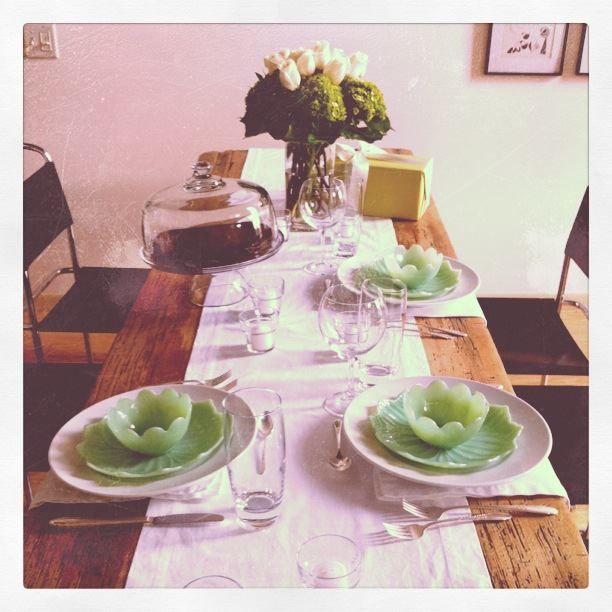white procelain dinner plates, with antique jadite lotus plates