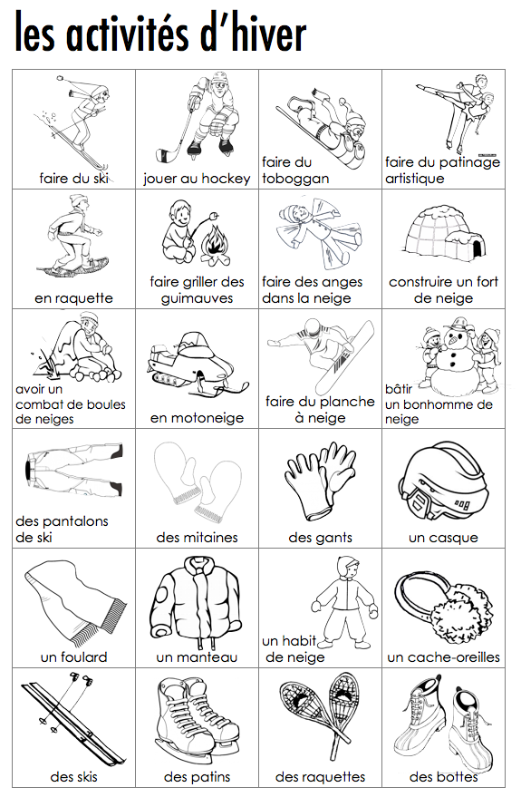 French visual dictionary of winter activities | French | Pinterest ...