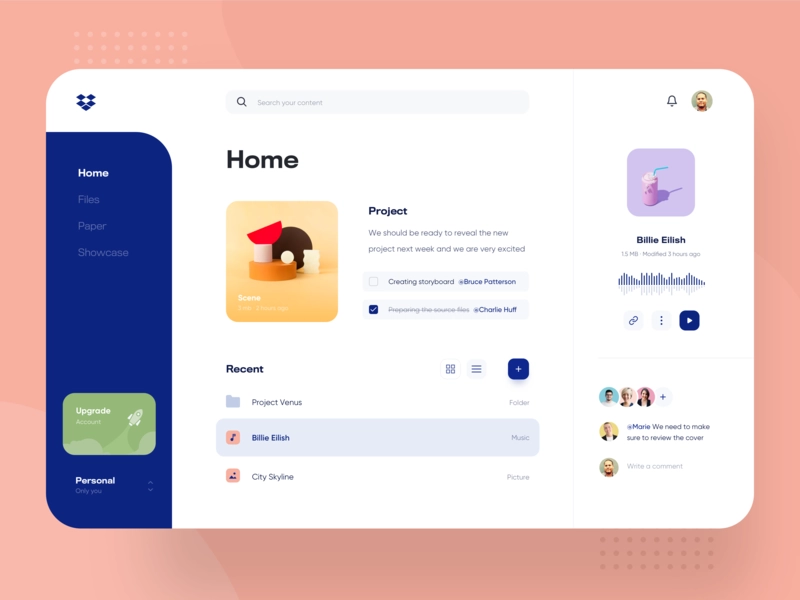 Dropbox Desktop Redesign Web Dashboard Product Design Responsive Web Design Layout Web Design User Interface Web Dashboard