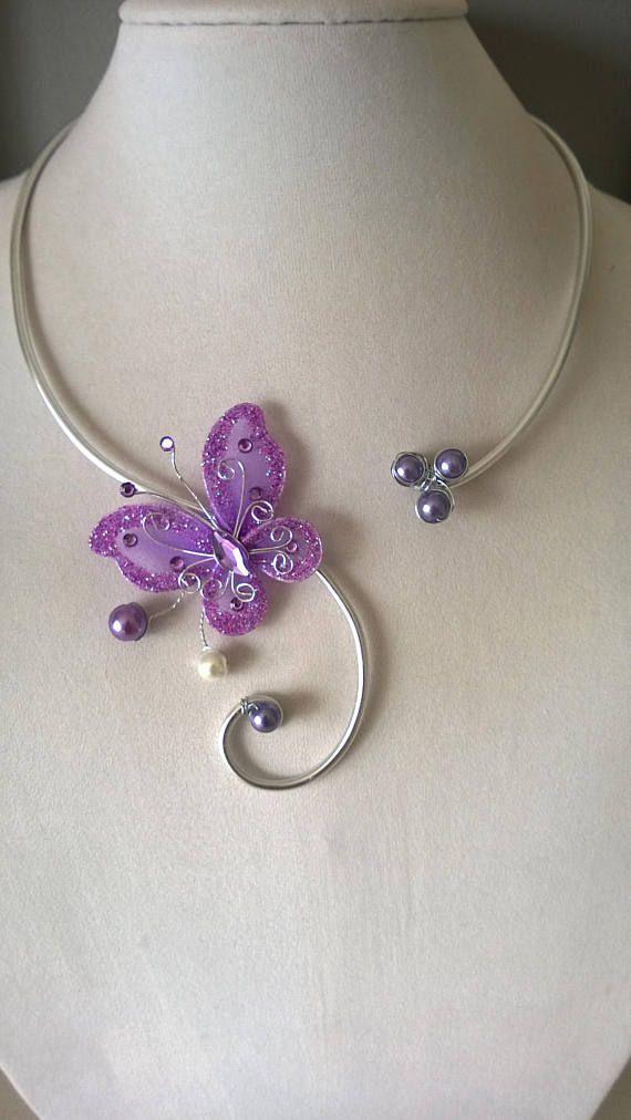 Butterfly wedding jewelry set Lilac wedding jewelry set Handmade