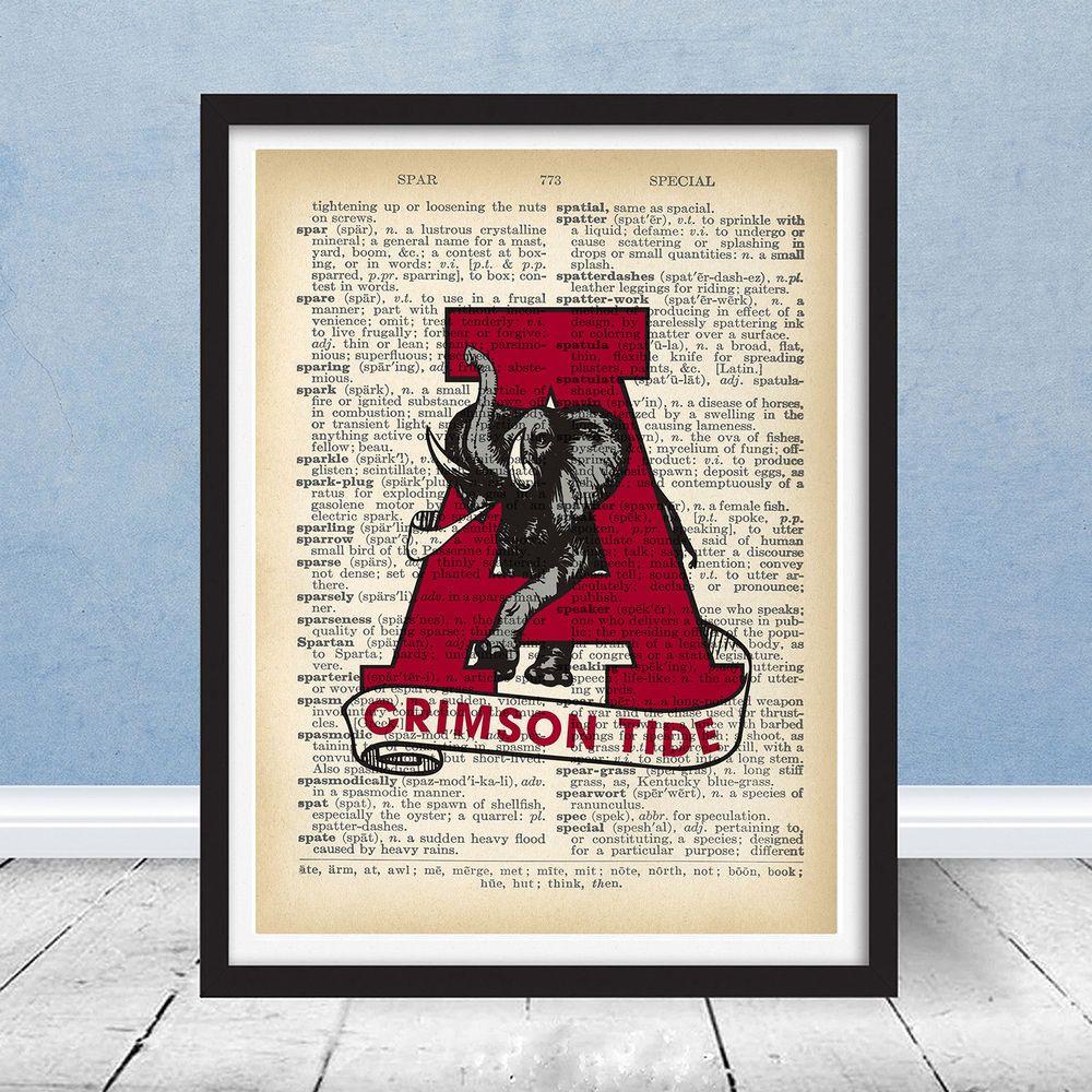 Vintage Alabama Crimson Tide Logo Football Fight Song Music Roll Tide Print Art Football Wall Art Wall Art Sign Retro Home Decor