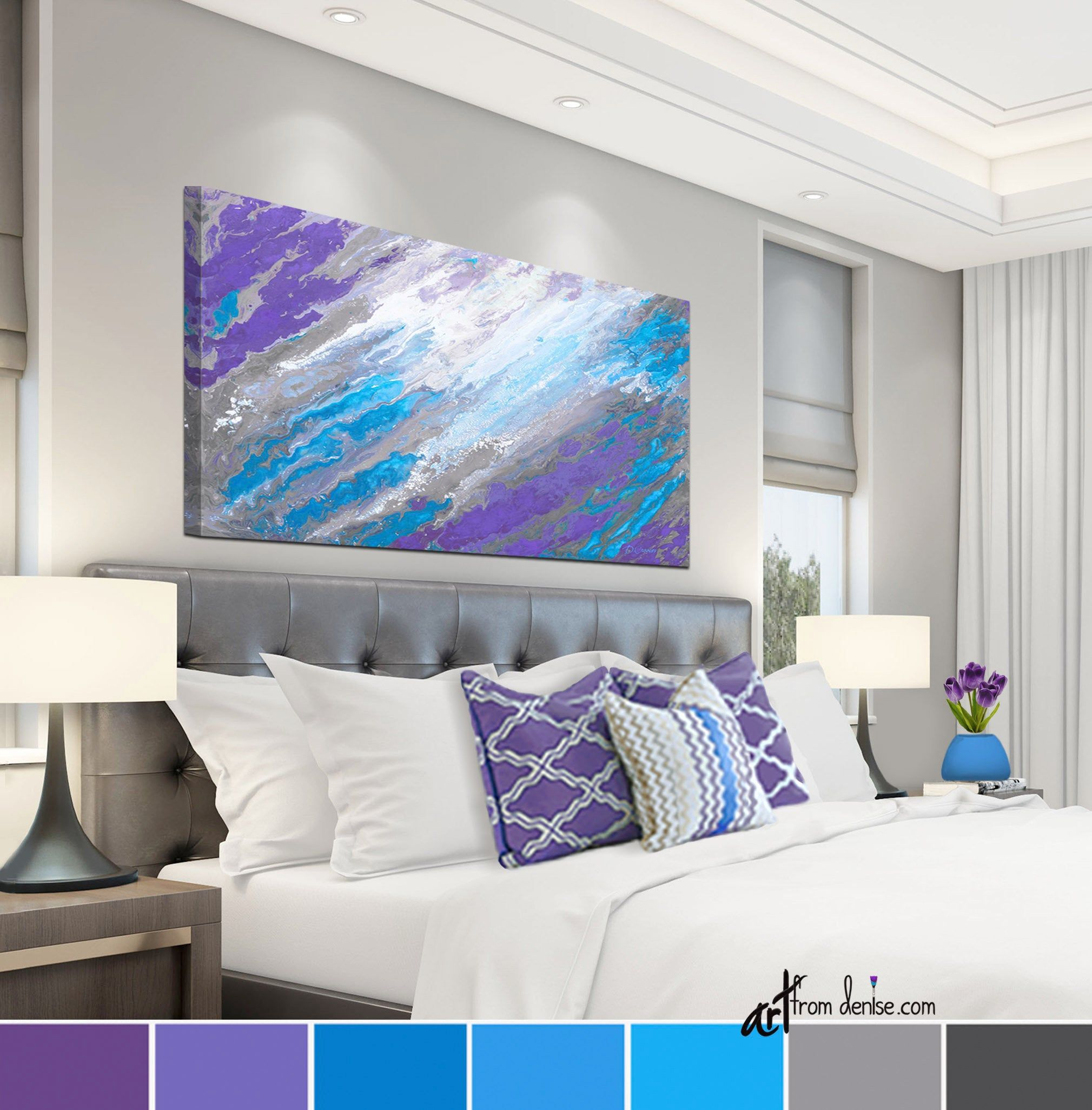 Purple Blue Gray Canvas Wall Art For Laundry Room Bedroom Etsy Bedroom Artwork Abstract Canvas Wall Art Wall Canvas