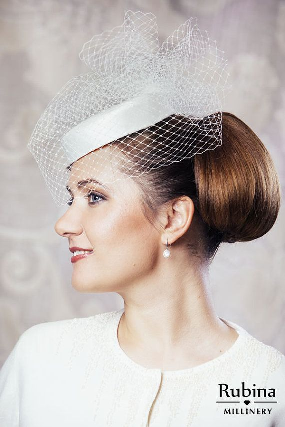 c3231ba2612c4 Ivory Bridal Pillbox Hat with Birdcage Veil - Bridal Hat - White ...